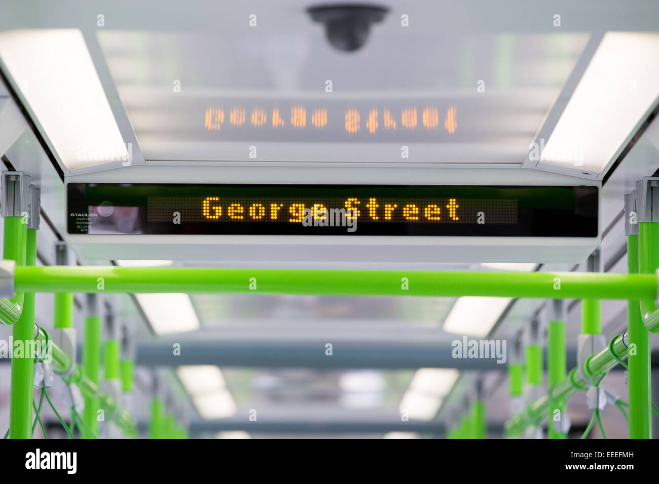 Close up of a digital display on a Variobahn tram - Stock Image