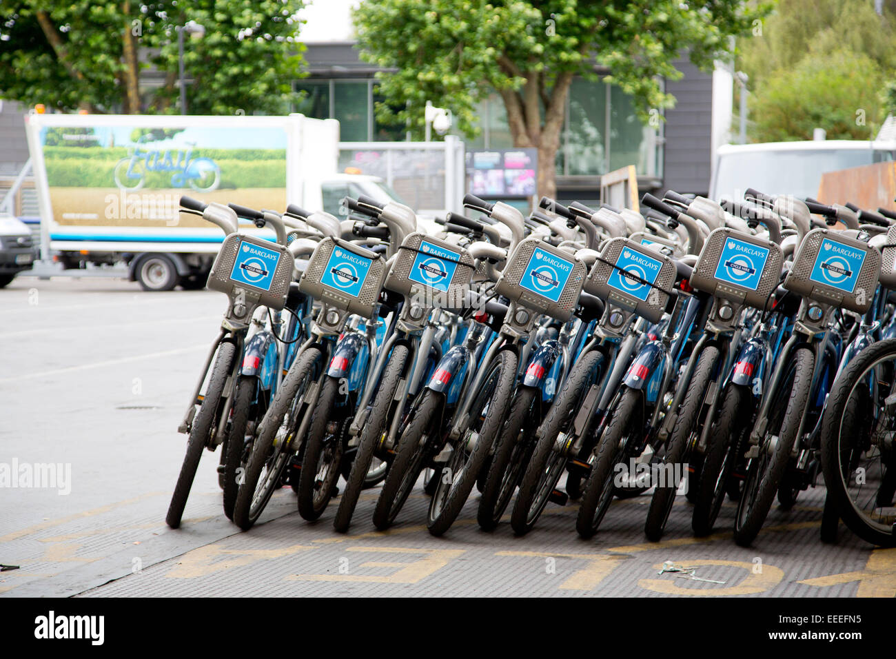 Stacks of repaired Cycle Hire bikes at Penton Street depot - Stock Image