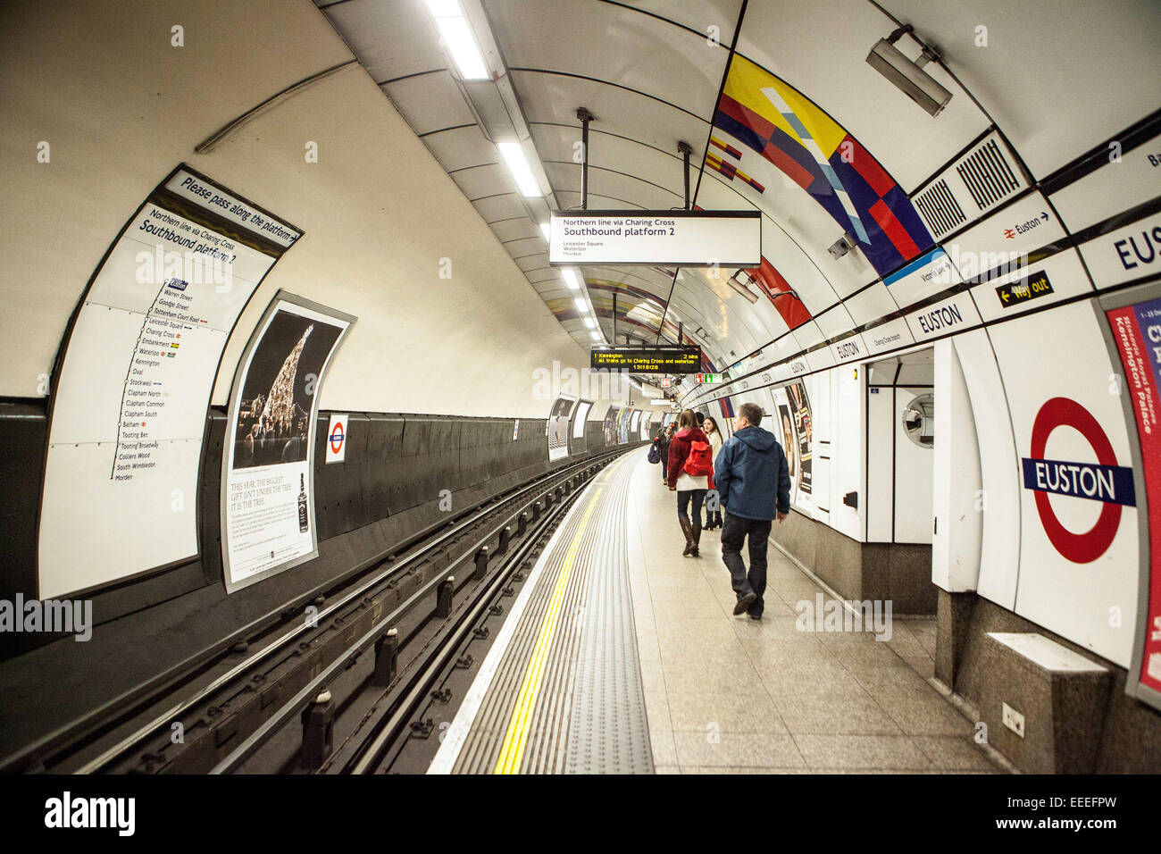 Southbound platform of the Northern Line, Charing Cross Branch - Stock Image