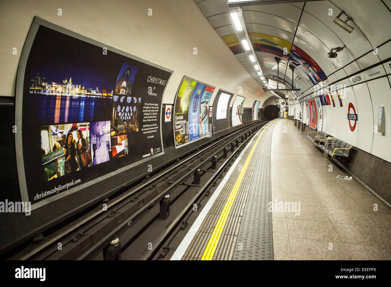 The Southbound Platform platform of the Northern Line, Charing Cross Branch, Euston Station. - Stock Image