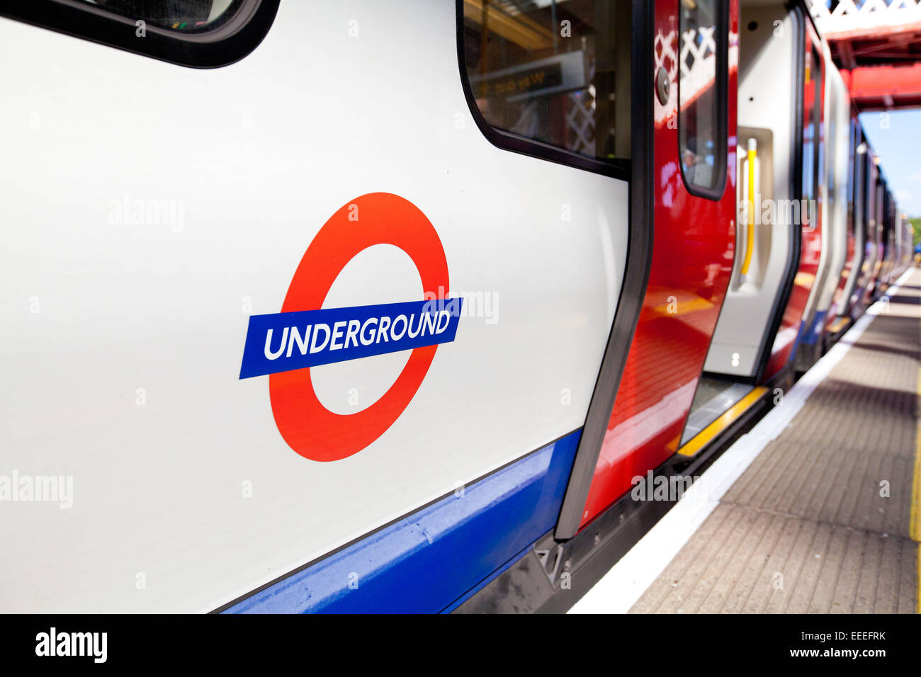 Close up of the roundel on a new S Stock Metropolitan line train at Amersham - Stock Image
