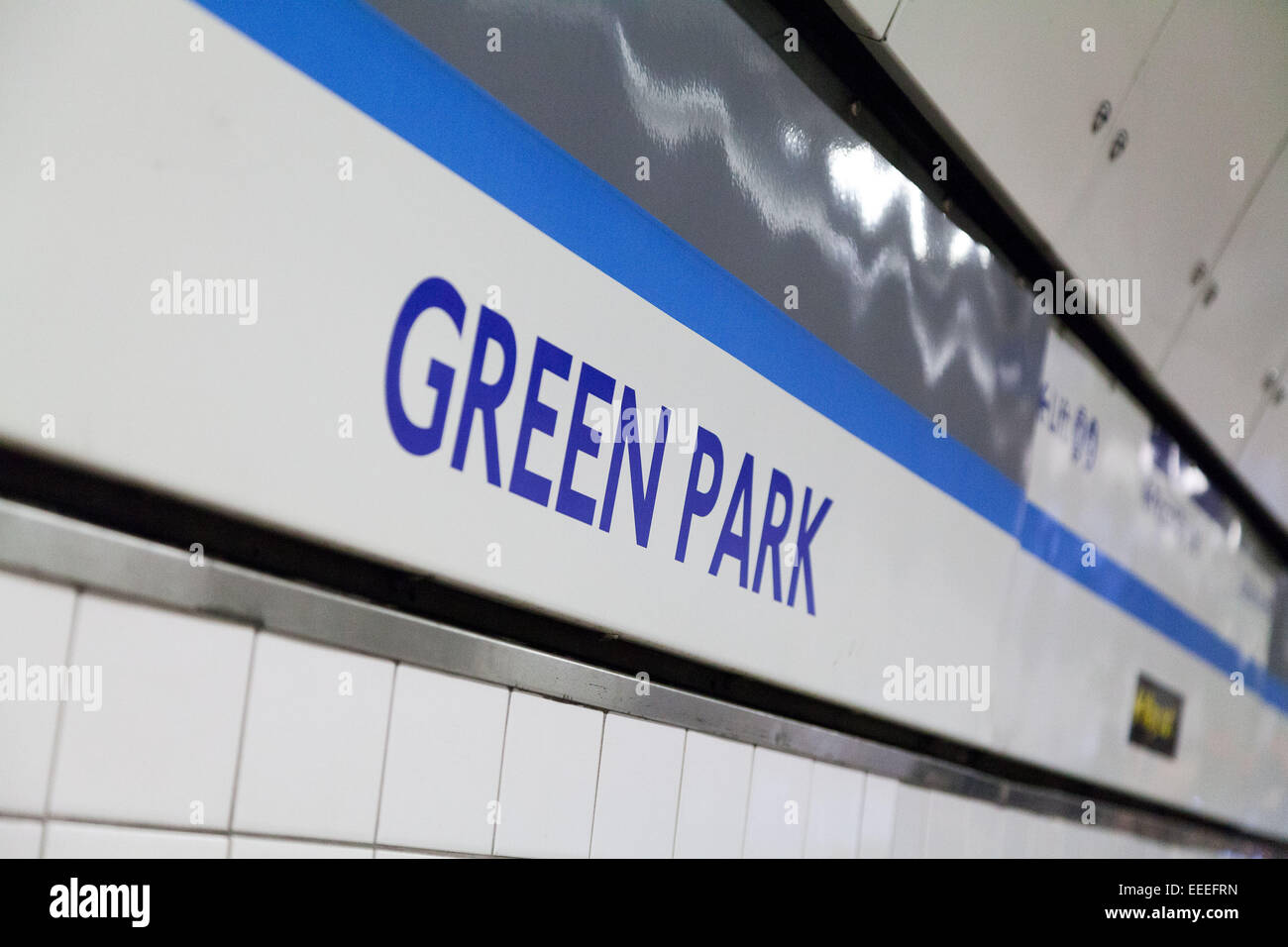 Station signage at Green Park - Stock Image