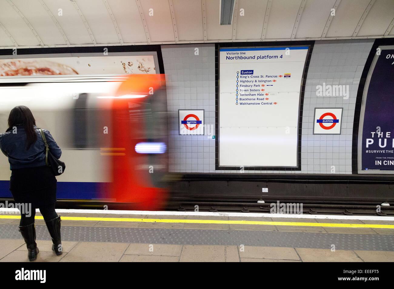 Victoria line train arriving into Euston - Stock Image