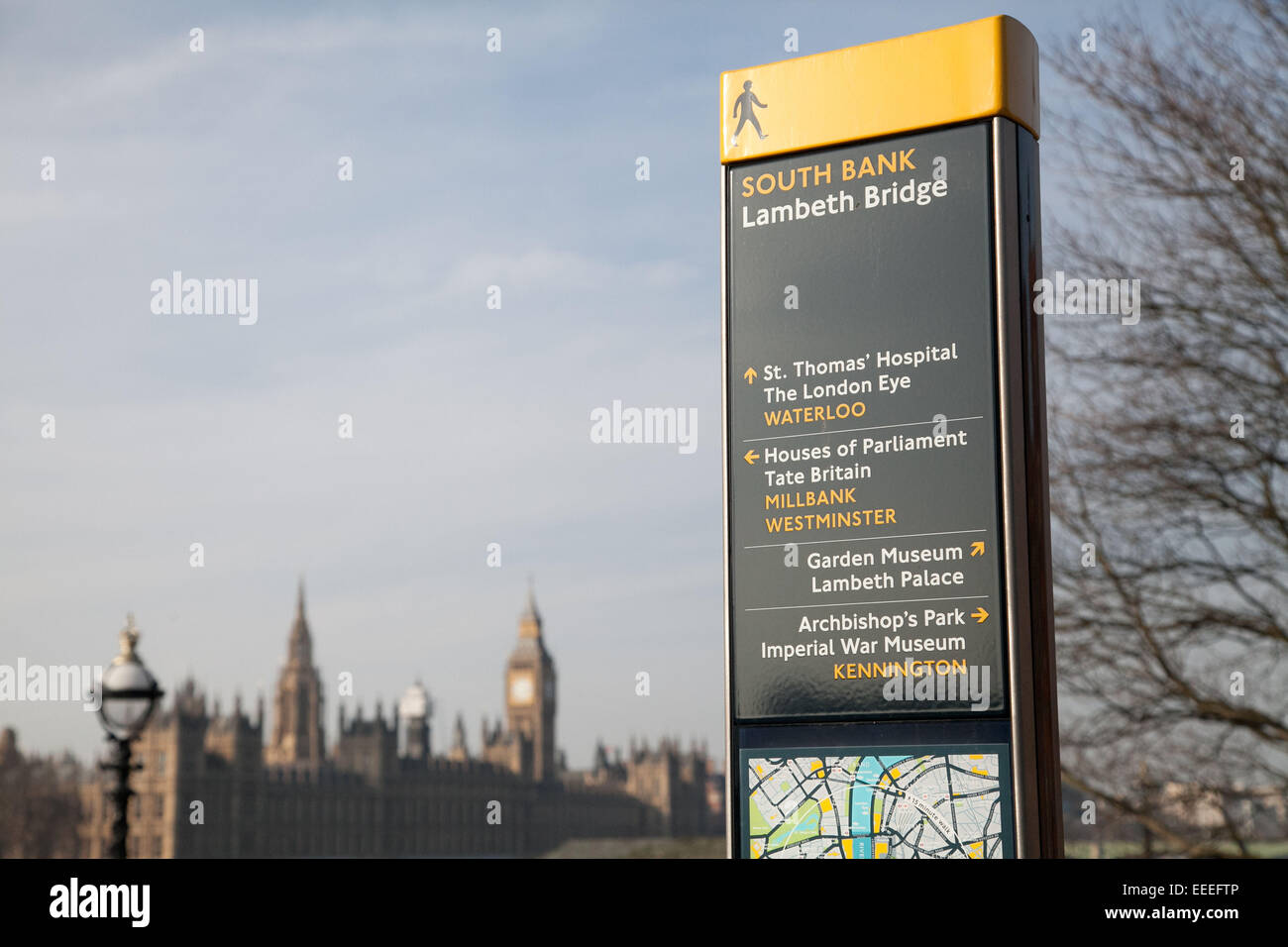 Legible London signage at Lambeth Bridge with Westminster visible in the background - Stock Image