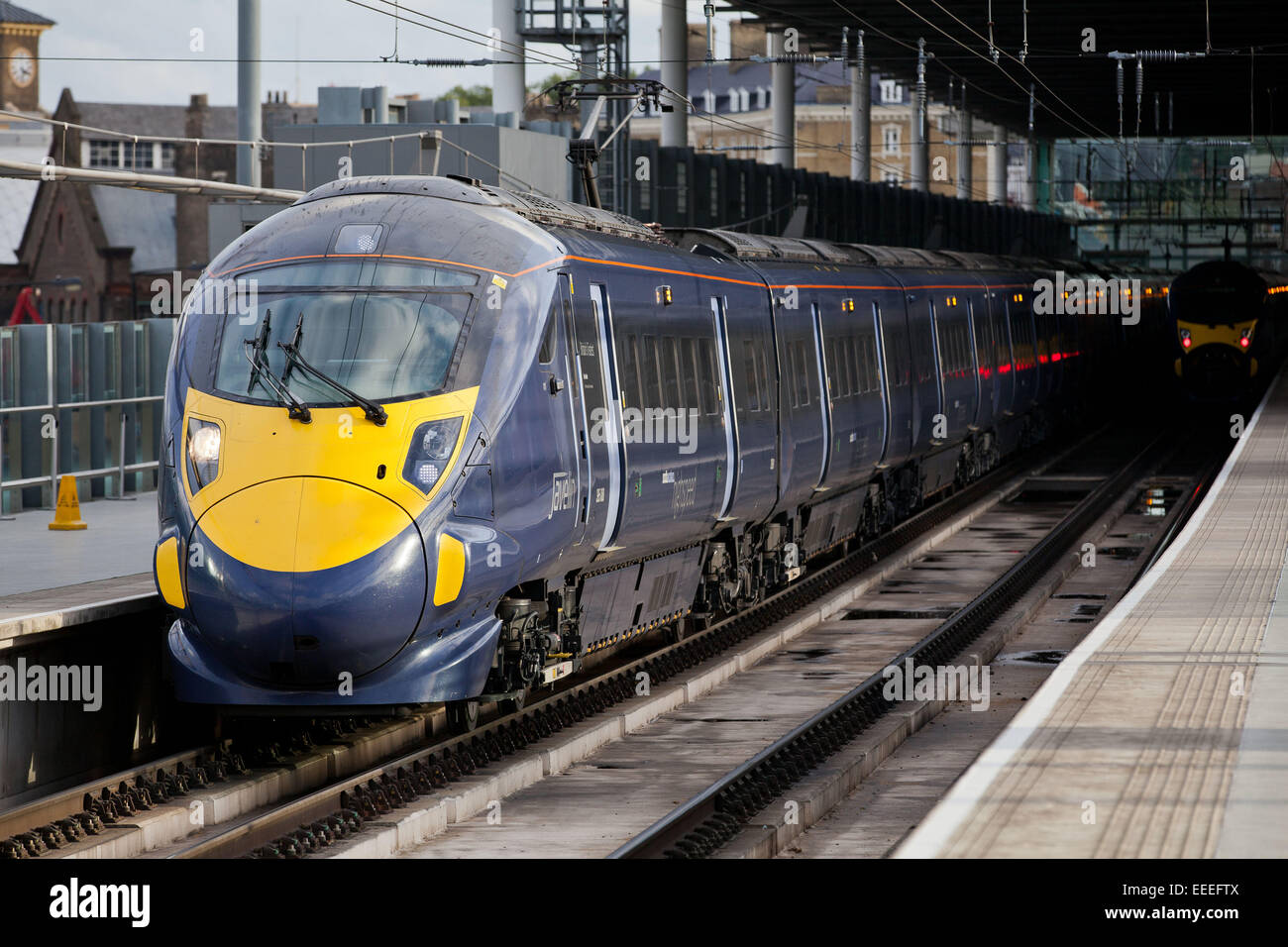 Class 395 Southeastern train at the platforms at St. Pancras Internaitonal station - Stock Image