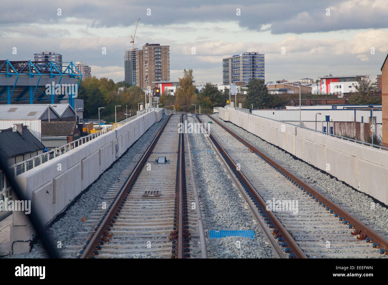 New track between Old Kent Road junction and Surrey Quays on the Overground network - Stock Image