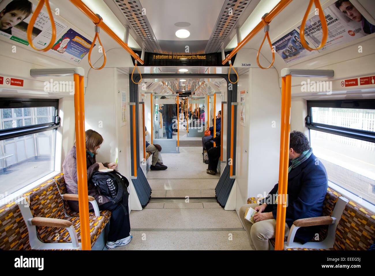Interior of a London Overground train - Stock Image