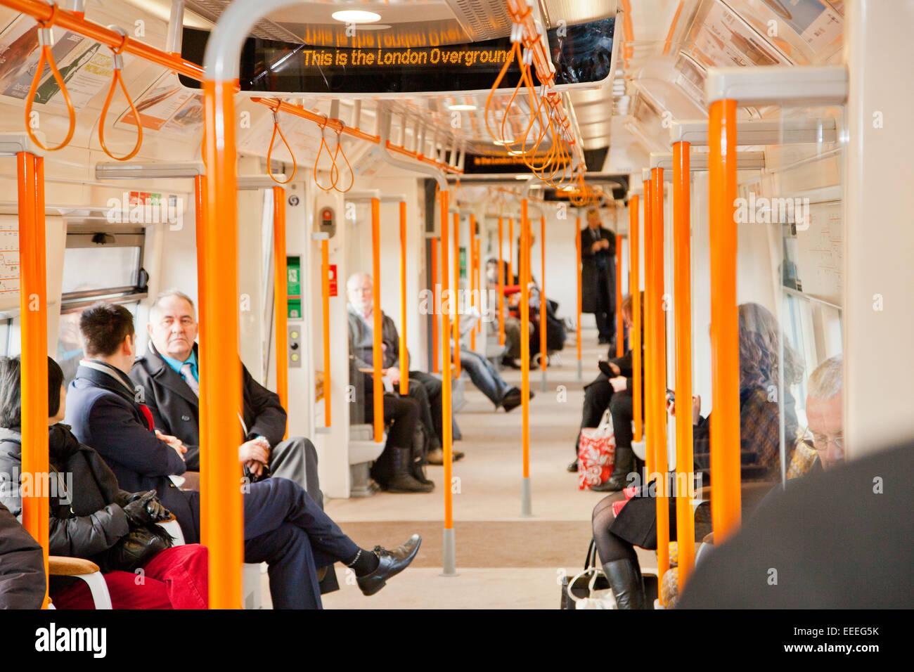 Interior of an Overground train - Stock Image