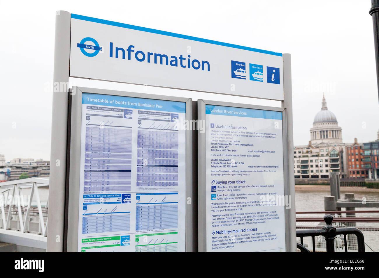 Timetables at Bankside Pier - Stock Image