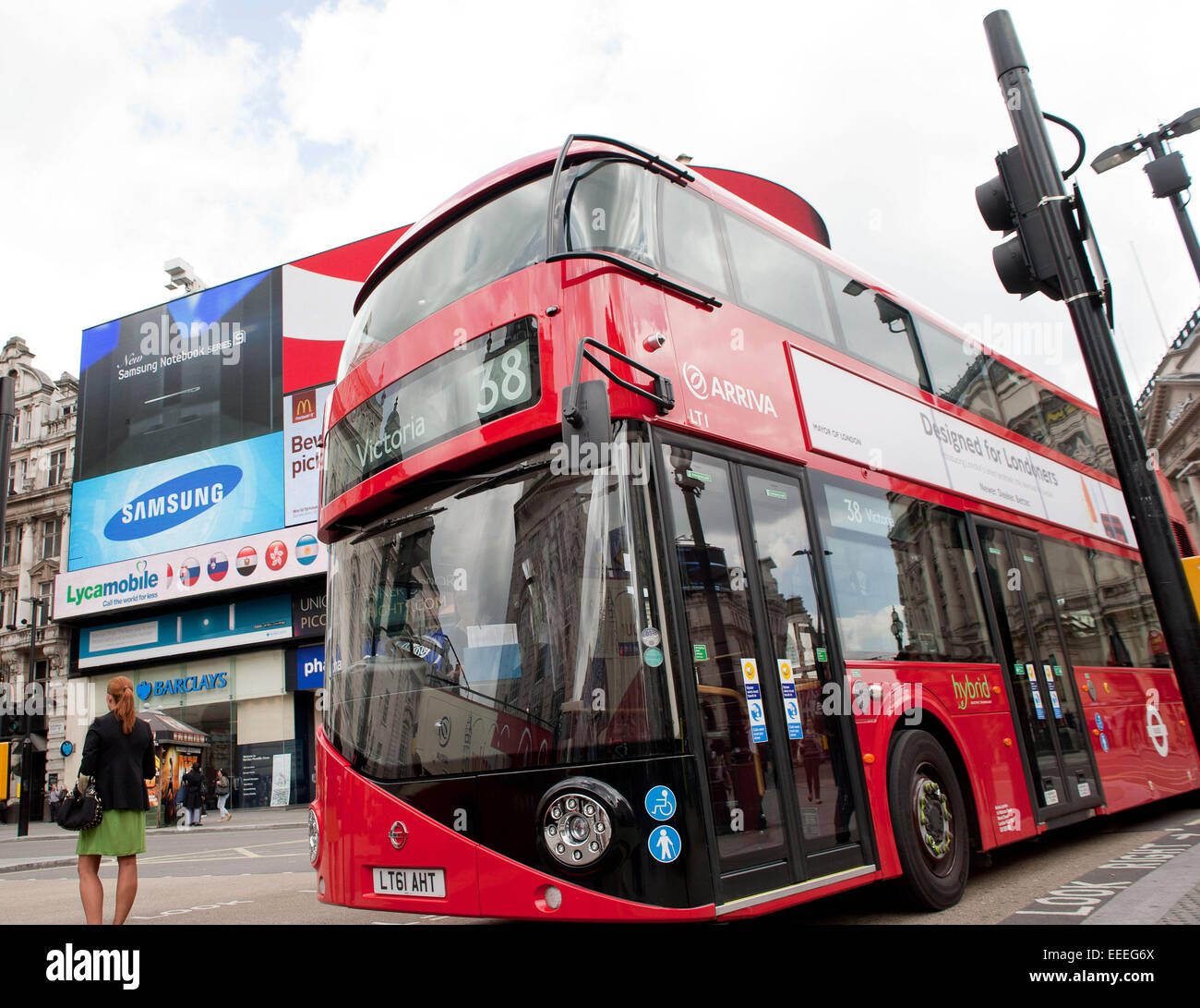 The iconc New Bus for London at Picadilly Circus - Stock Image