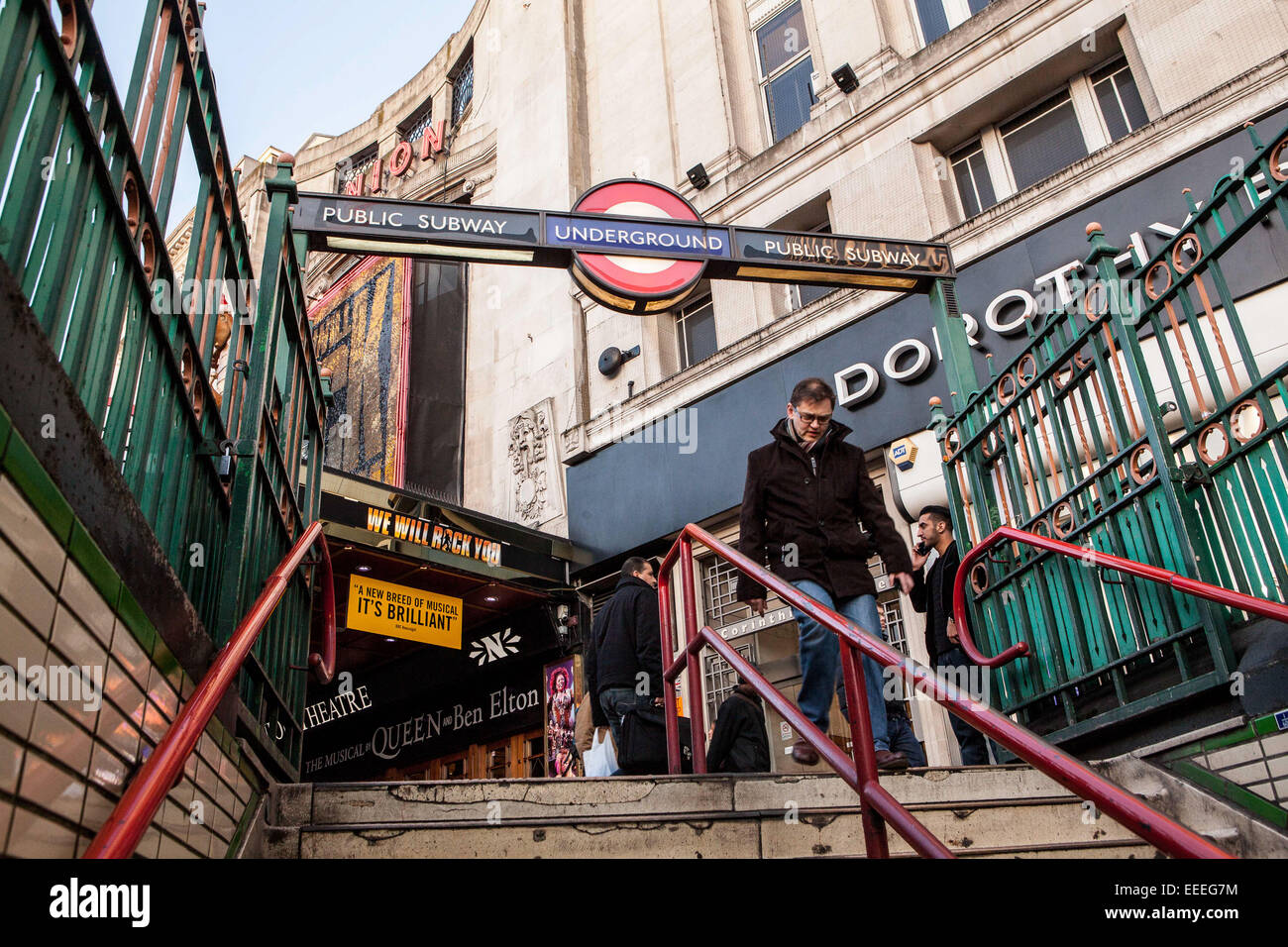 Northeast Entrance to Tottenham Court Road Station. - Stock Image