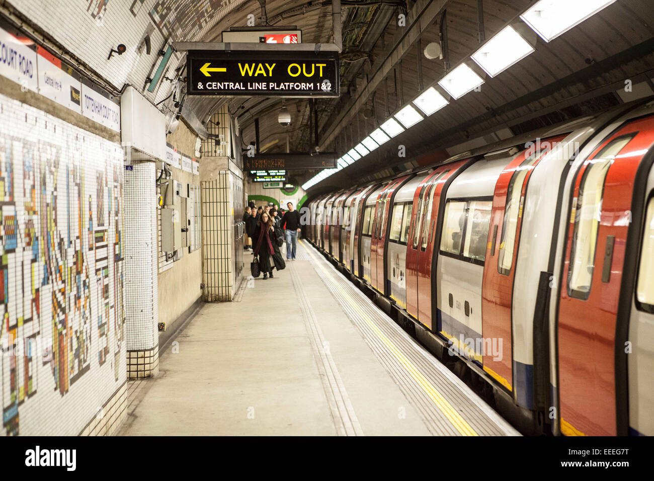 Southbound platform of the Northern Line at Tottenham Court Road Station - Stock Image