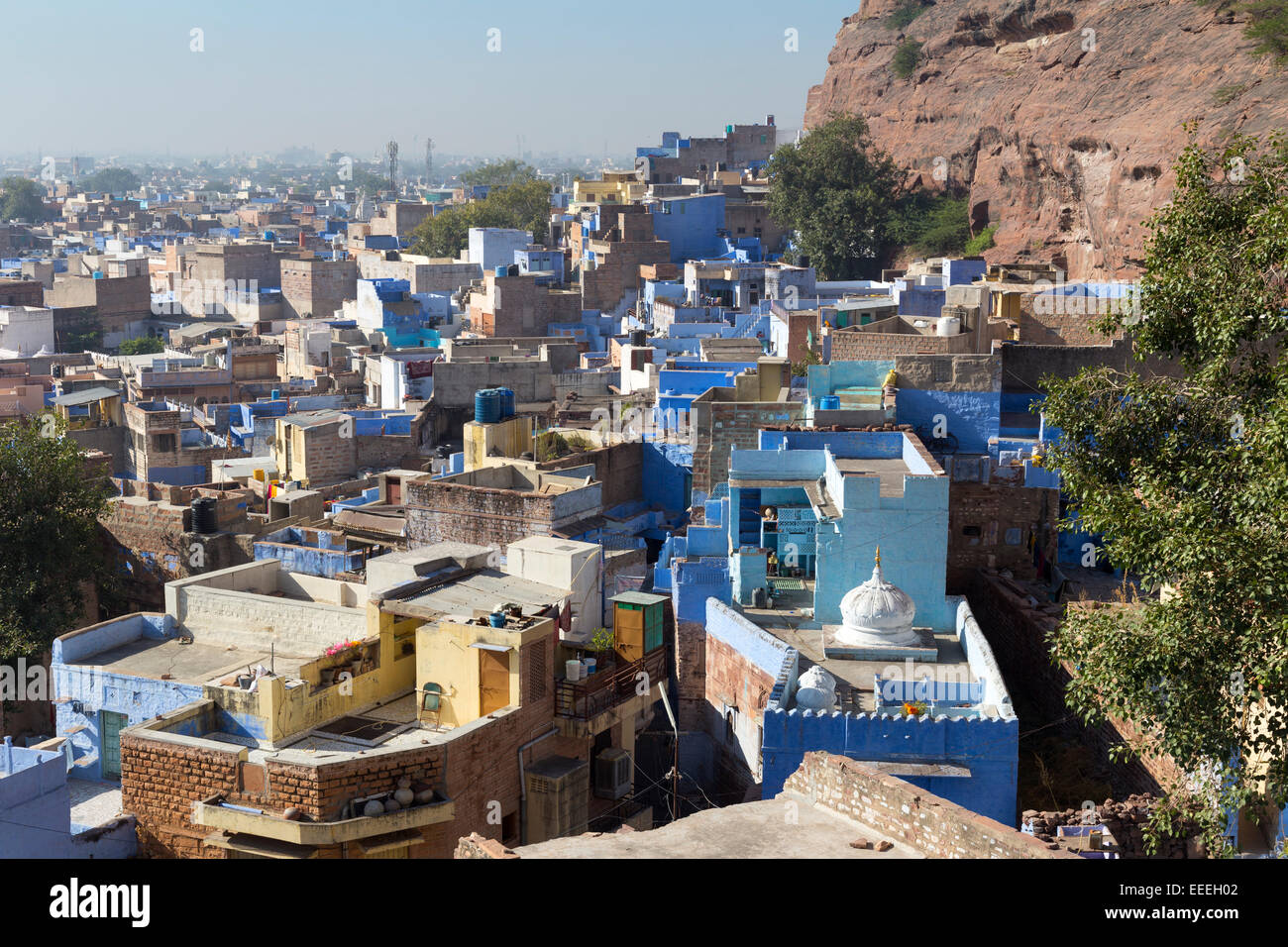 India, Rajasthan, Jodhpur, blue painted houses in the old city - Stock Image