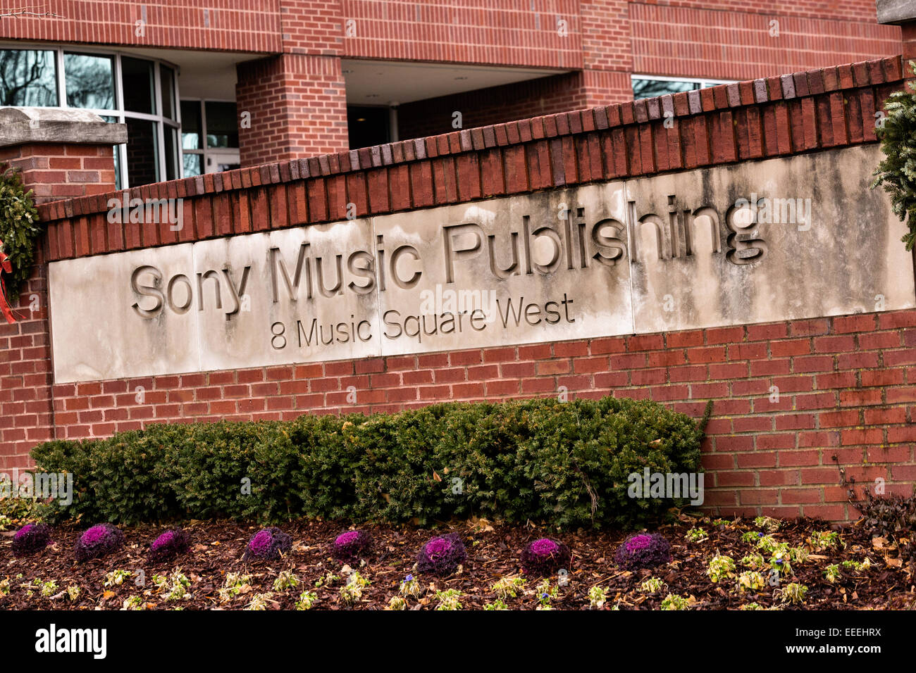Sign for Sony Music Publishing headquarters in Nashville, TN Stock