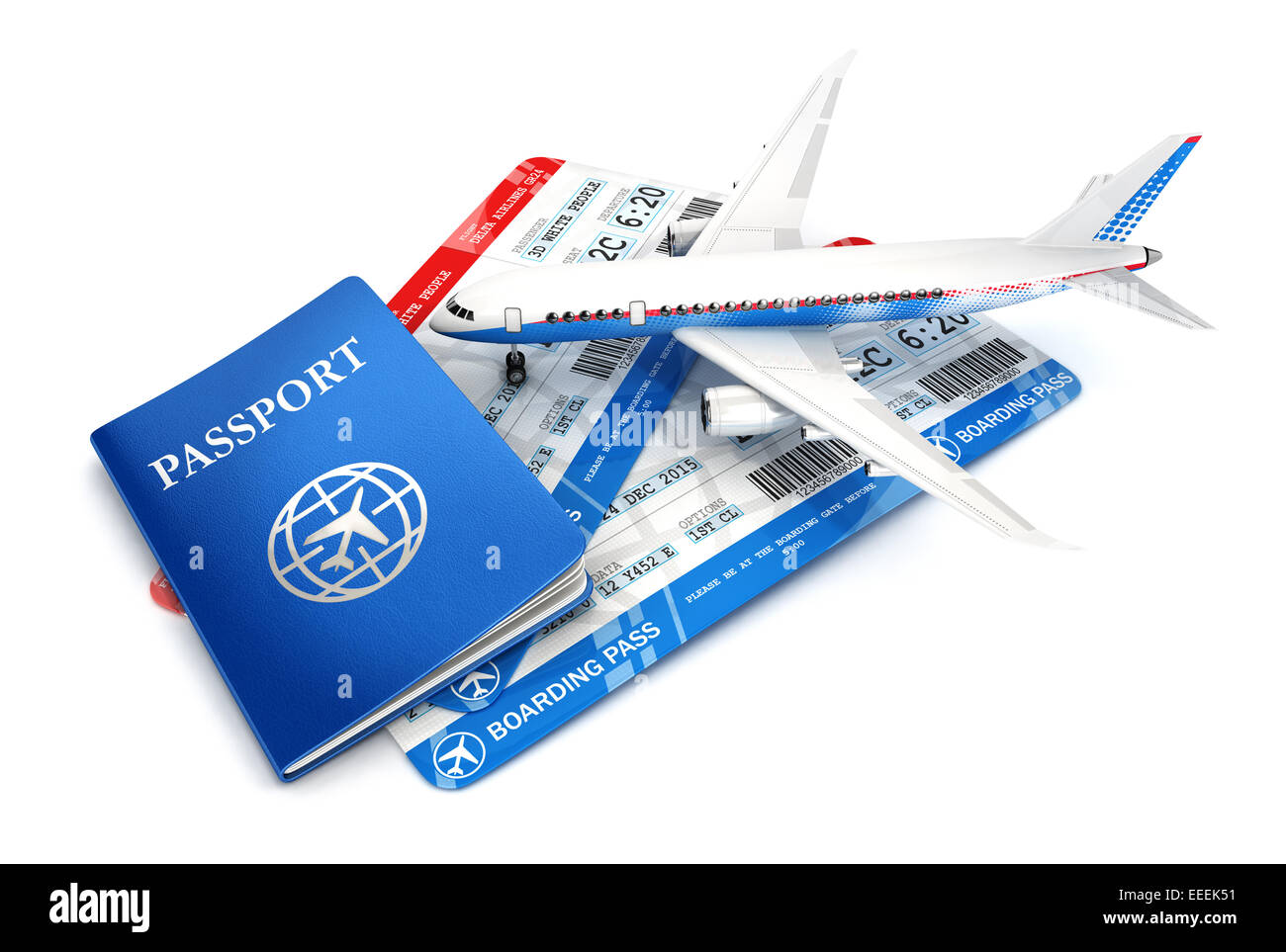 3d travel concept with airplane, passport and boarding pass, isolated white background, 3d image Stock Photo