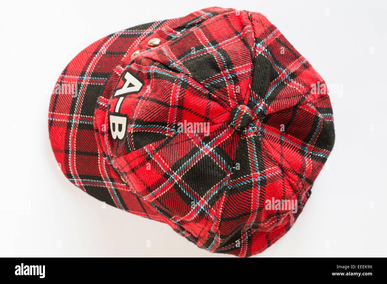 A-B tartan baseball cap isolated on white background Stock Photo