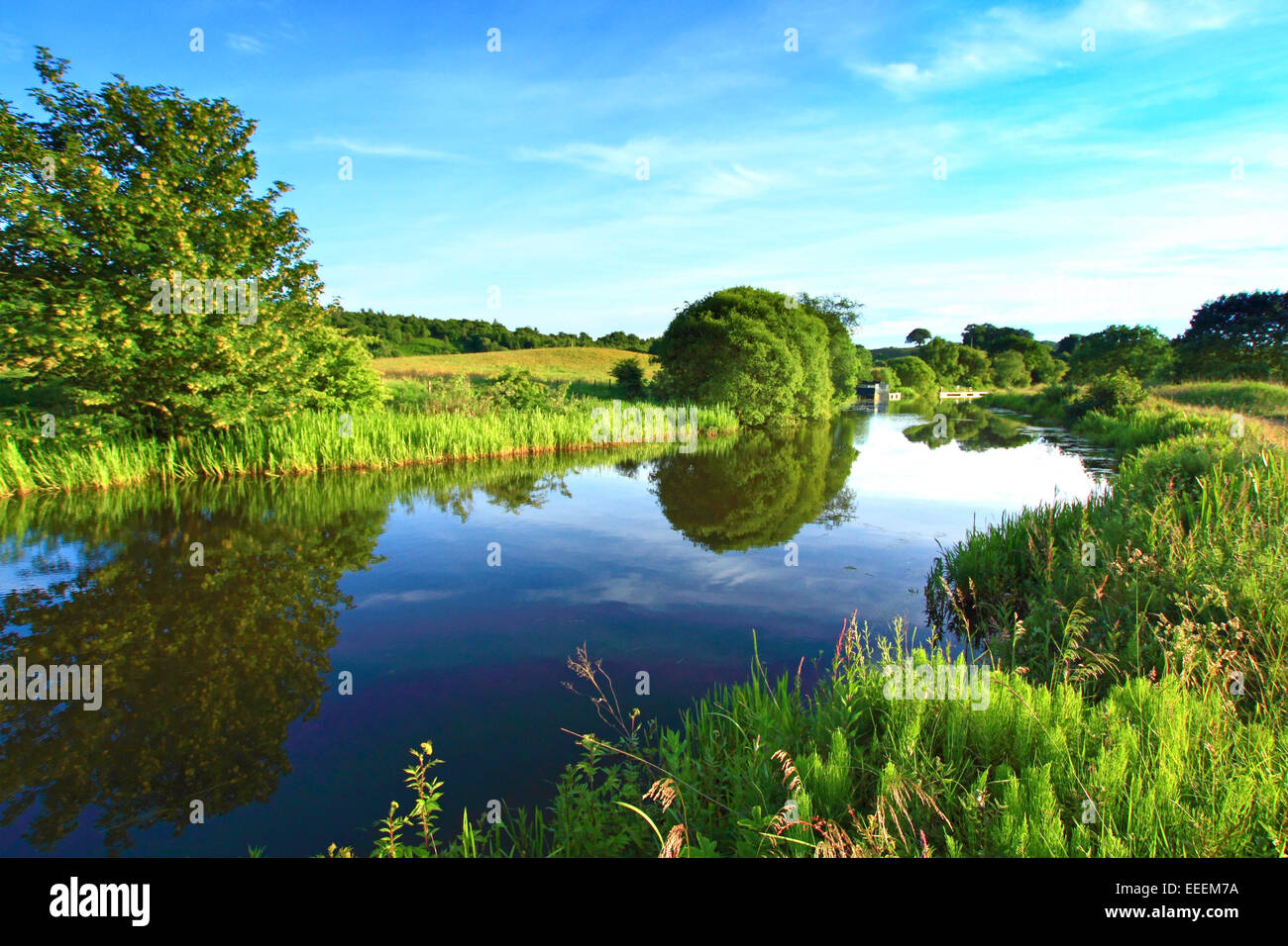 Forth and Clyde Canal, walking path, Kilsith, North Lanarkshire, Scotland - Stock Image