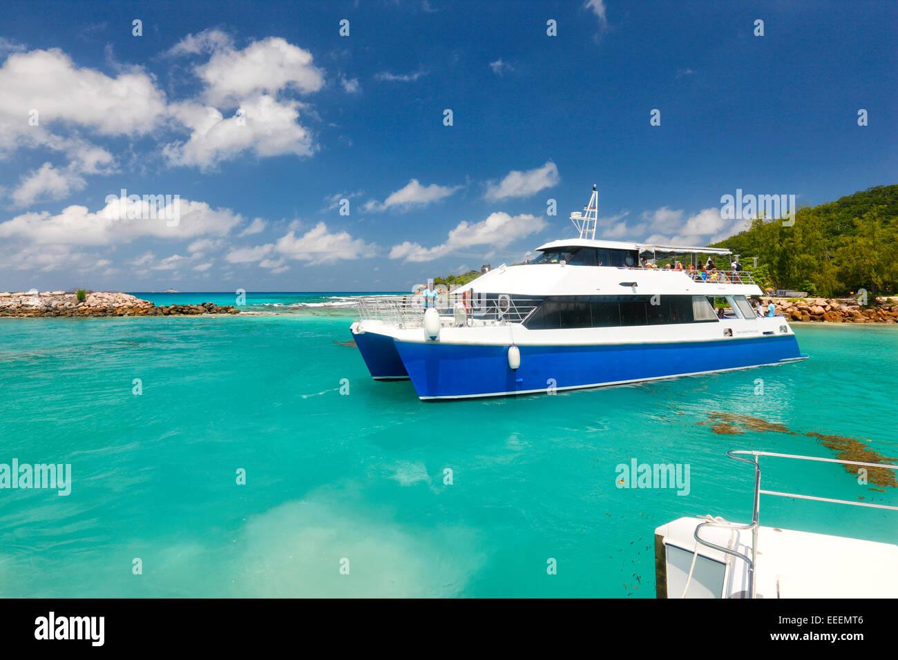 Seychelles catamaran ferry,  La Digue - Stock Image