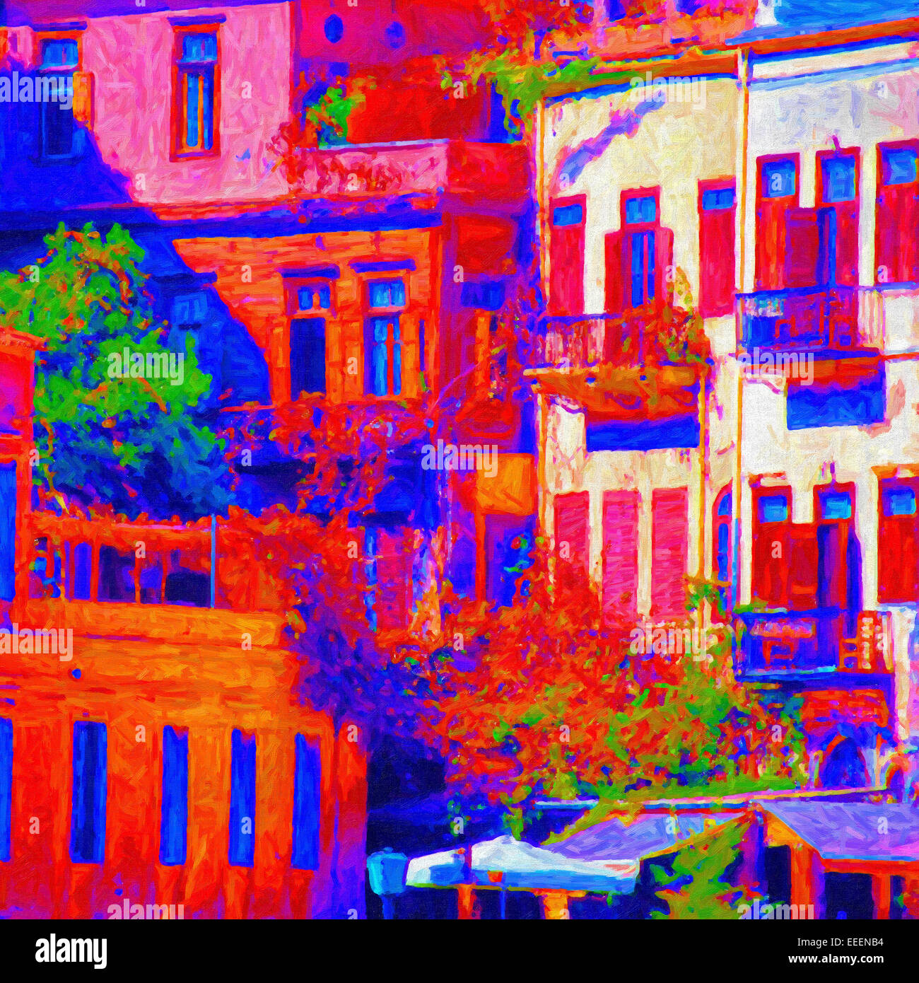 An abstract digital painting of the buildings in the Greek town of Chania. - Stock Image