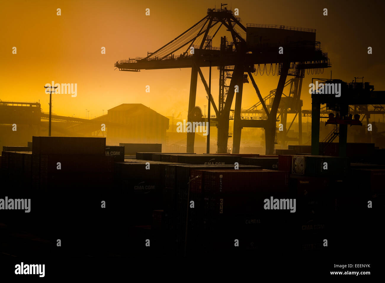 Orange tinted Casablanca dockyards. - Stock Image
