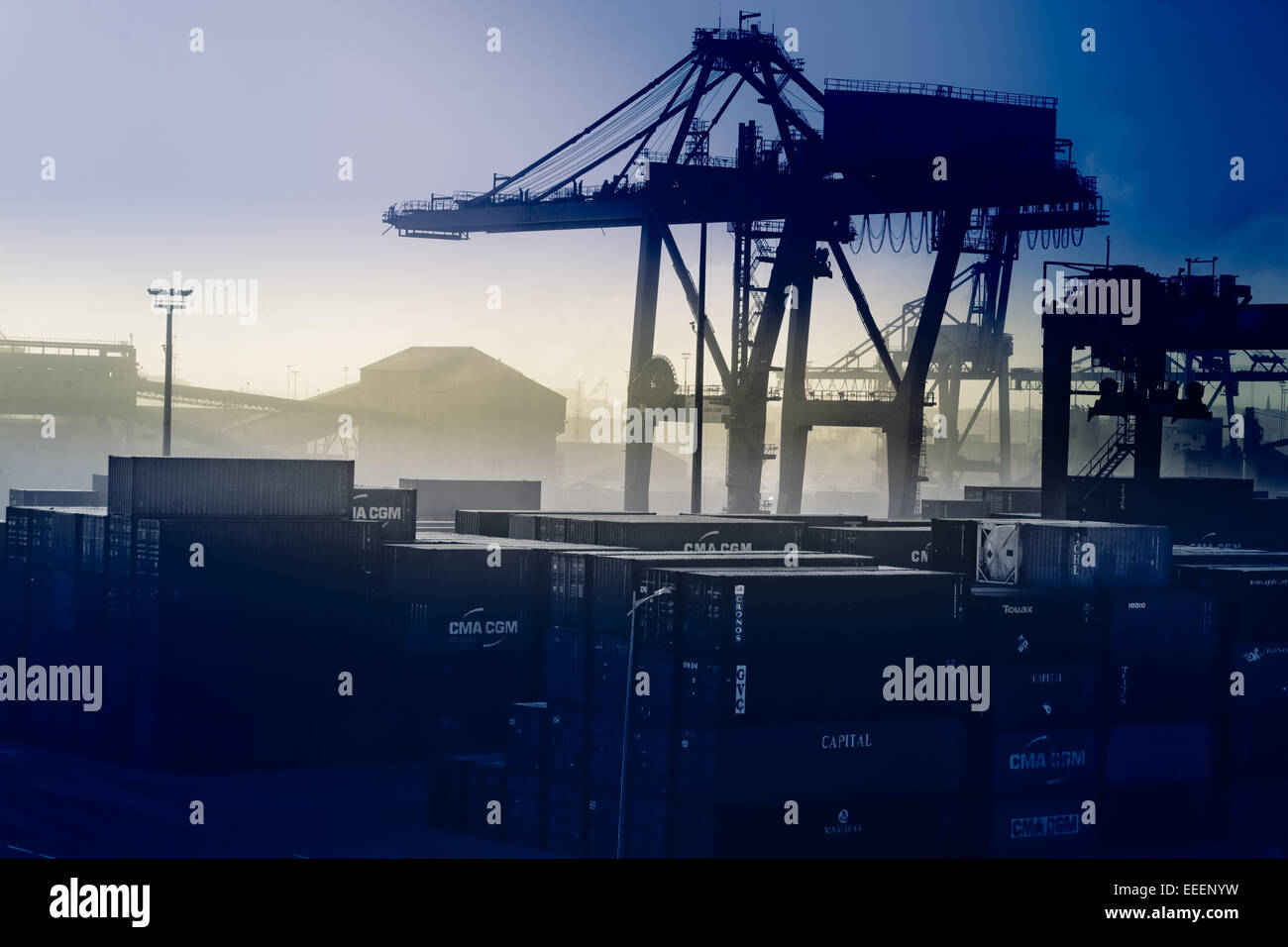 Blue tinted Casablanca dockyards. - Stock Image