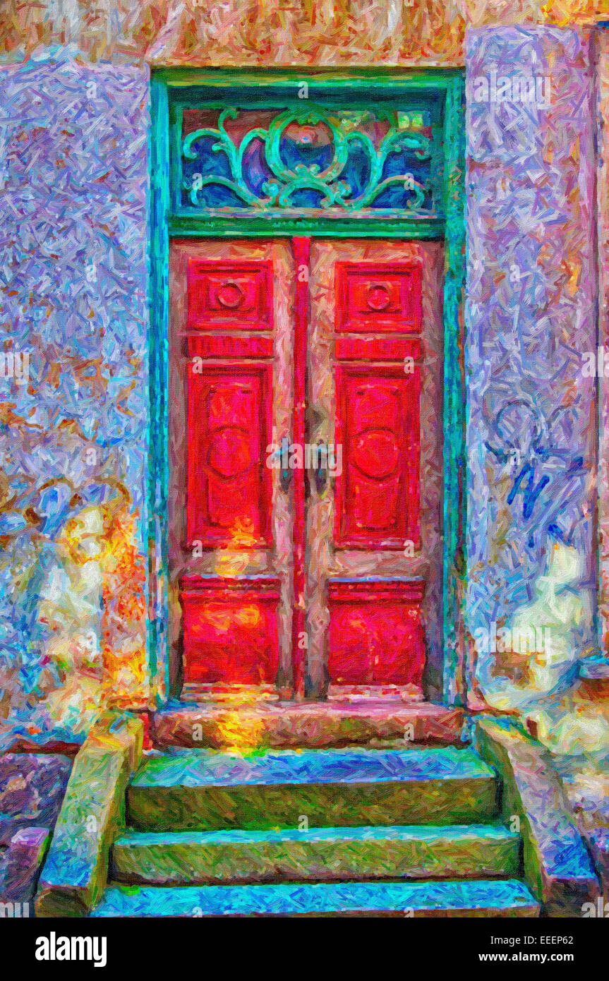 A Digital Painting Of An Old Red Door In A Green Doorway Both Of
