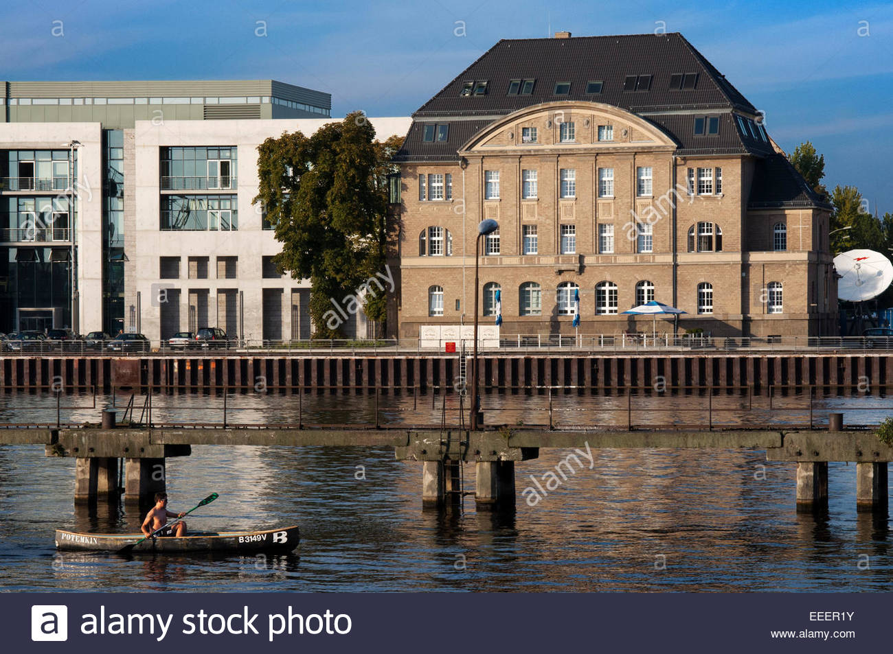Berlin, Germany, rowboat, canoe and sailing boat on the Spree. Experience Berlin from a kayak. See Tierpark and - Stock Image