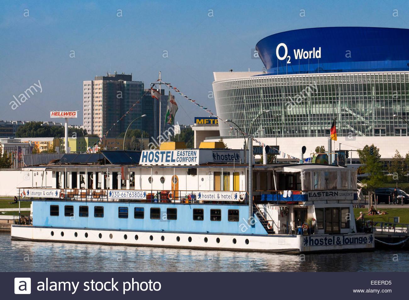 Berlin O2 World Spree Hostel Eastern Comfort. The hostel boats 'Eastern Comfort & Western Comfort', - Stock Image