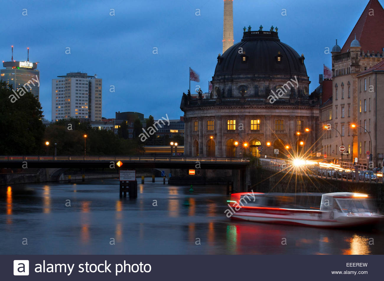 Berliner Dom or Berlin Cathedral at night in central (mitte) Berlin in Germany. The first church Berliner Dom. - Stock Image