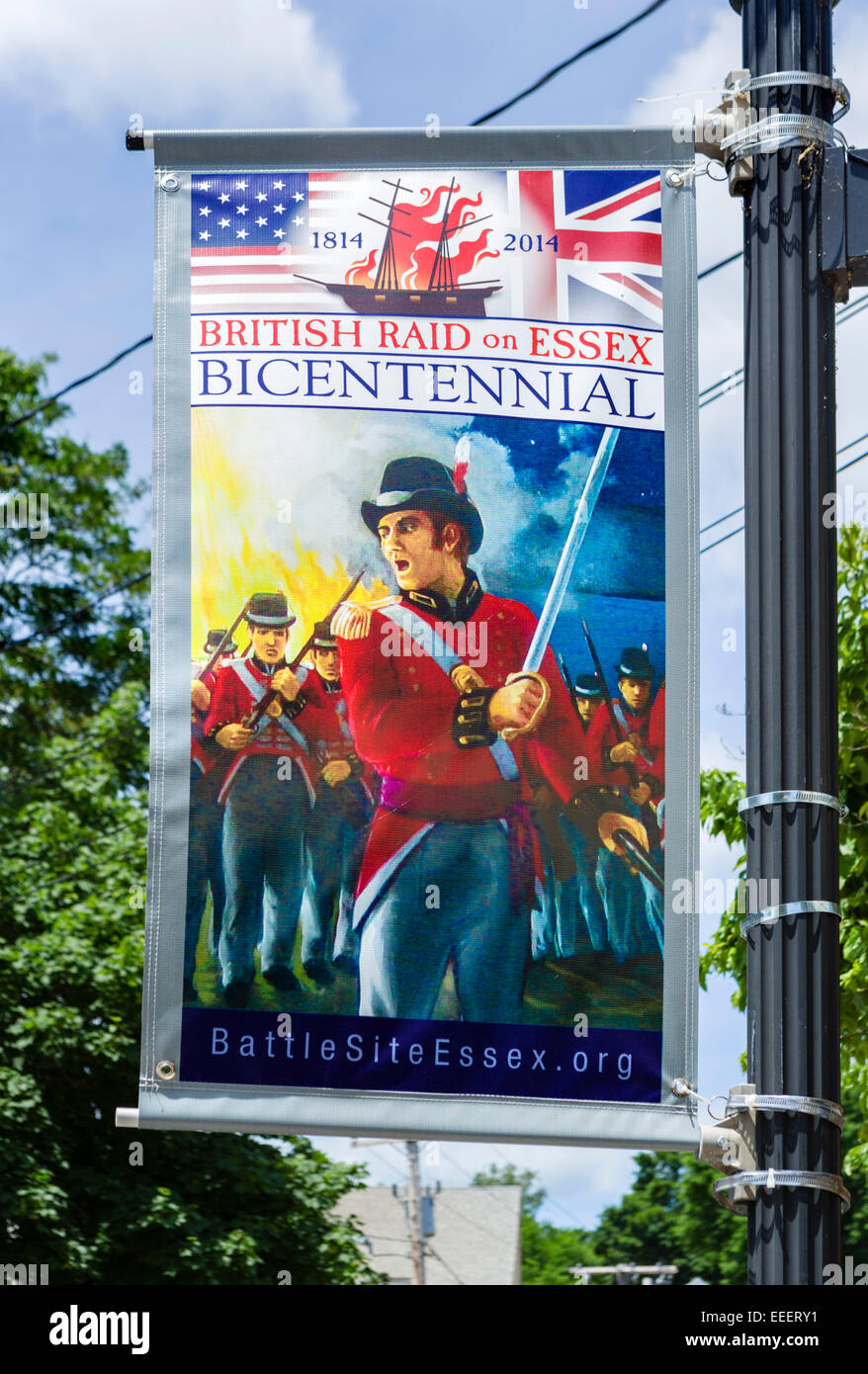 Banner commemorating the bicentennial of the British raid  on the town in 1814, Essex, Connecticut, USA - Stock Image