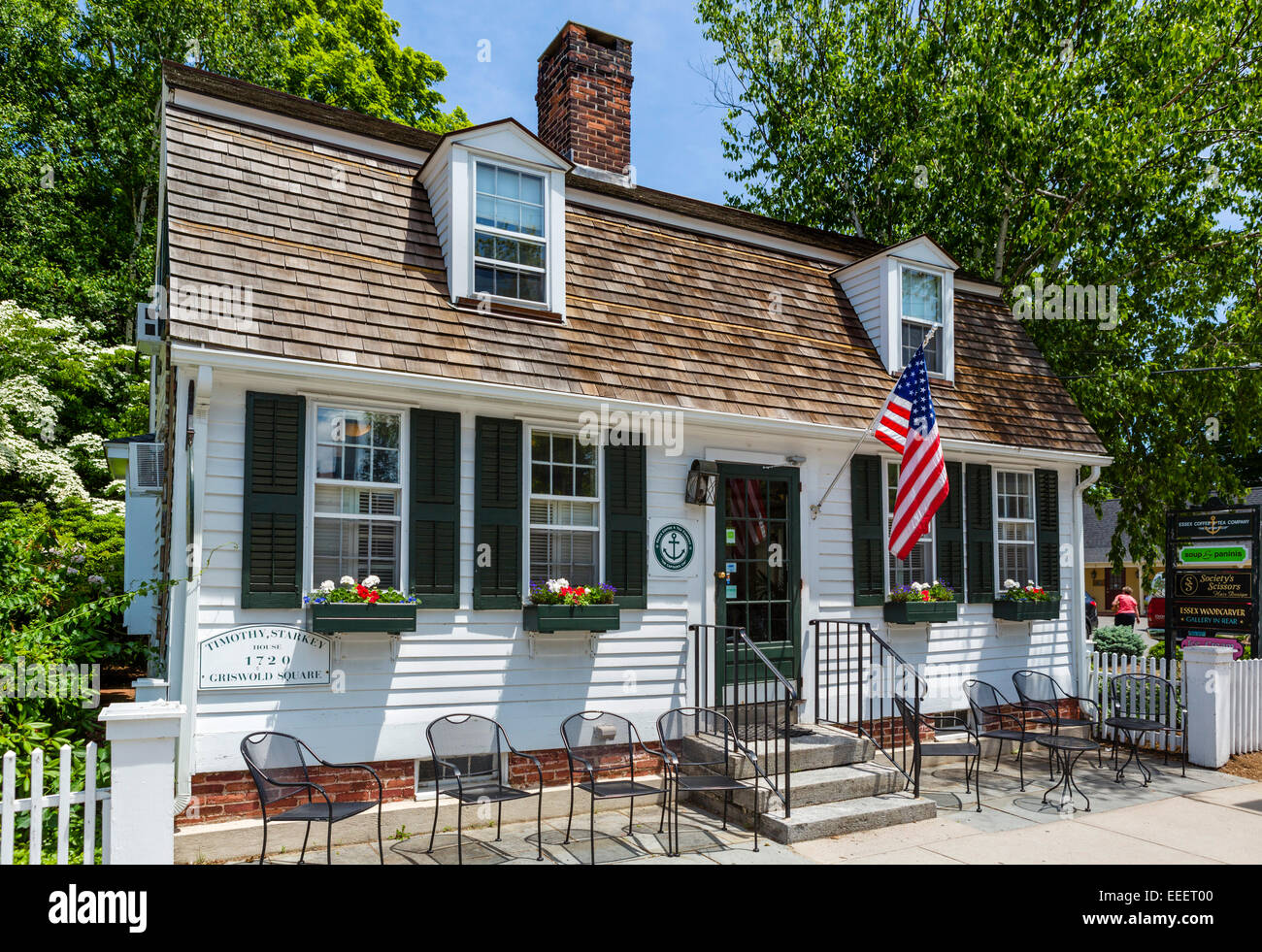 Historic Timothy Starkey House (1720) in the old town, Essex, Connecticut, USA Stock Photo