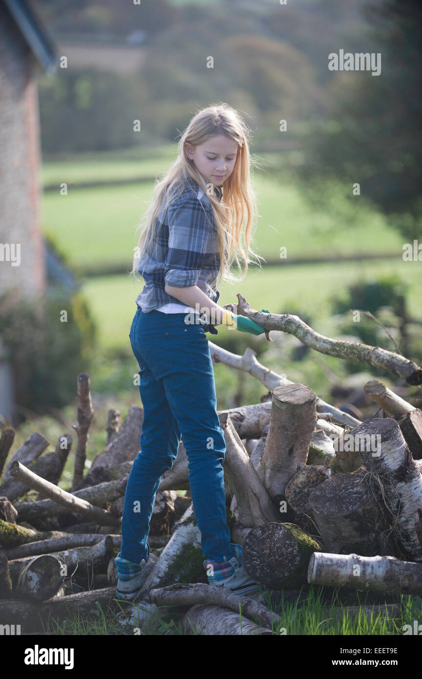 A young girl collecting firewood - Stock Image
