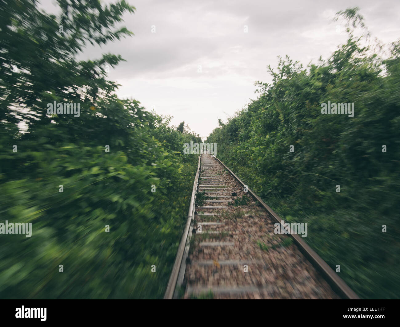 The bamboo train is one of the world's all-time classic rail journeys, near Battambang in South West Cambodia - Stock Image