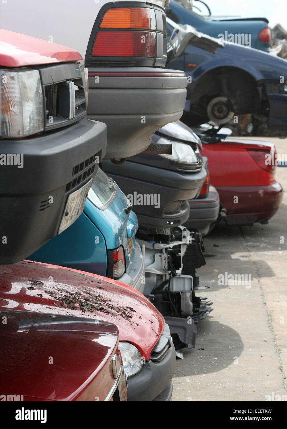 scrap cars in scrap yard, ready for dismantle, salvage or recycle, - Stock Image