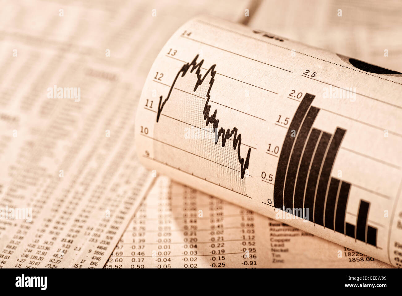 Exchange rate tables and diagrams show different stock prices. - Stock Image