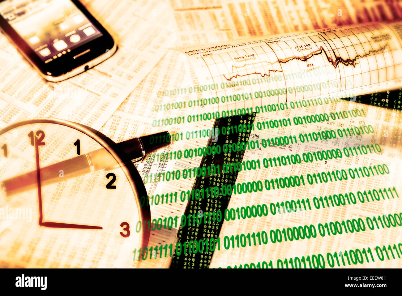 Exchange rate tables, stock indices, binary numbers, smartphone and a clock as a symbol of the modern computerized - Stock Image