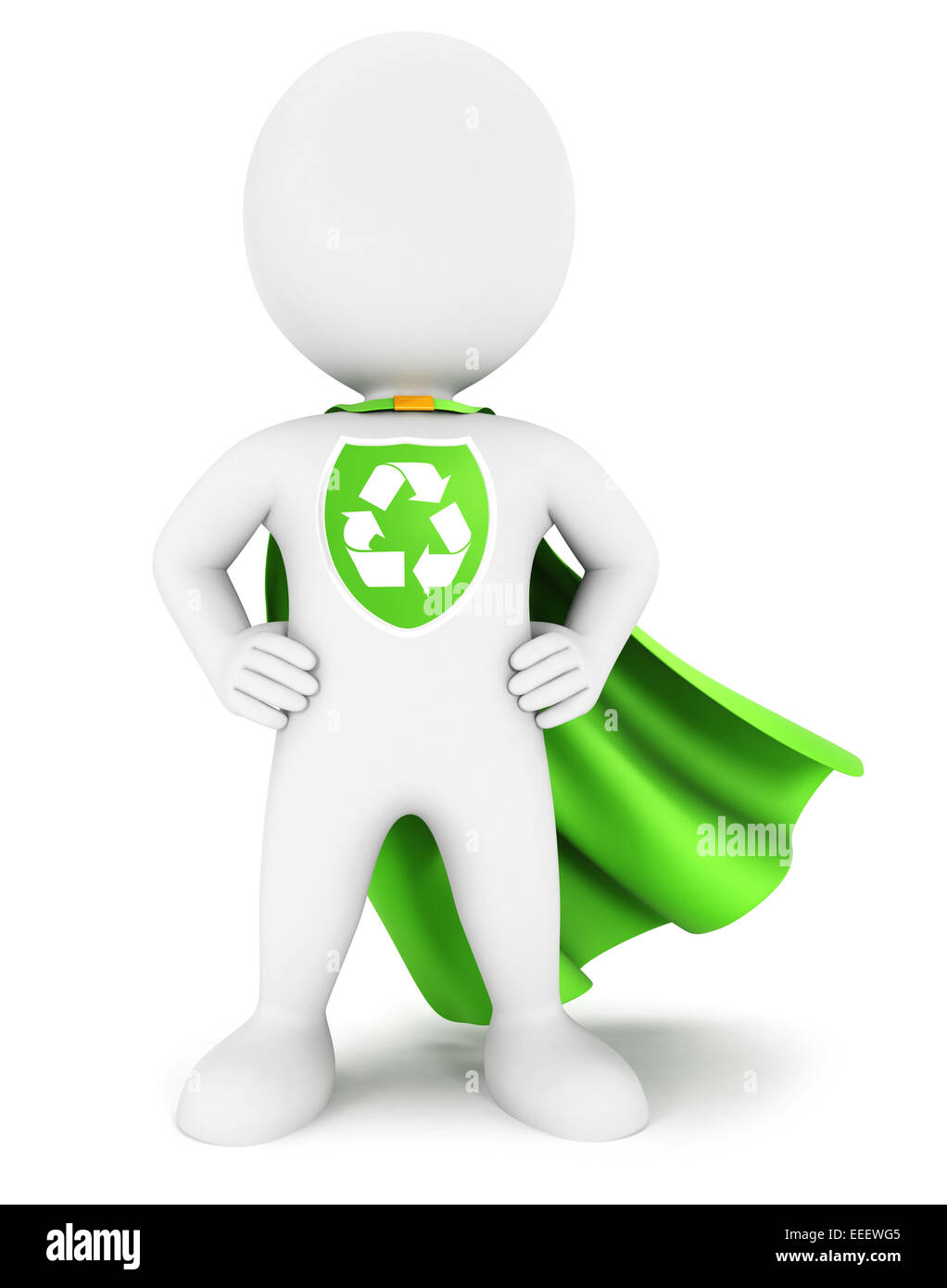 3d white people ecological superhero with recycle sign, isolated white background, 3d image Stock Photo