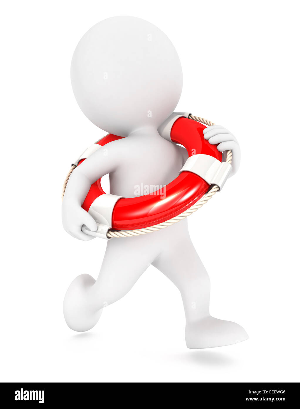 3d white people running lifeguard, isolated white background, 3d image Stock Photo