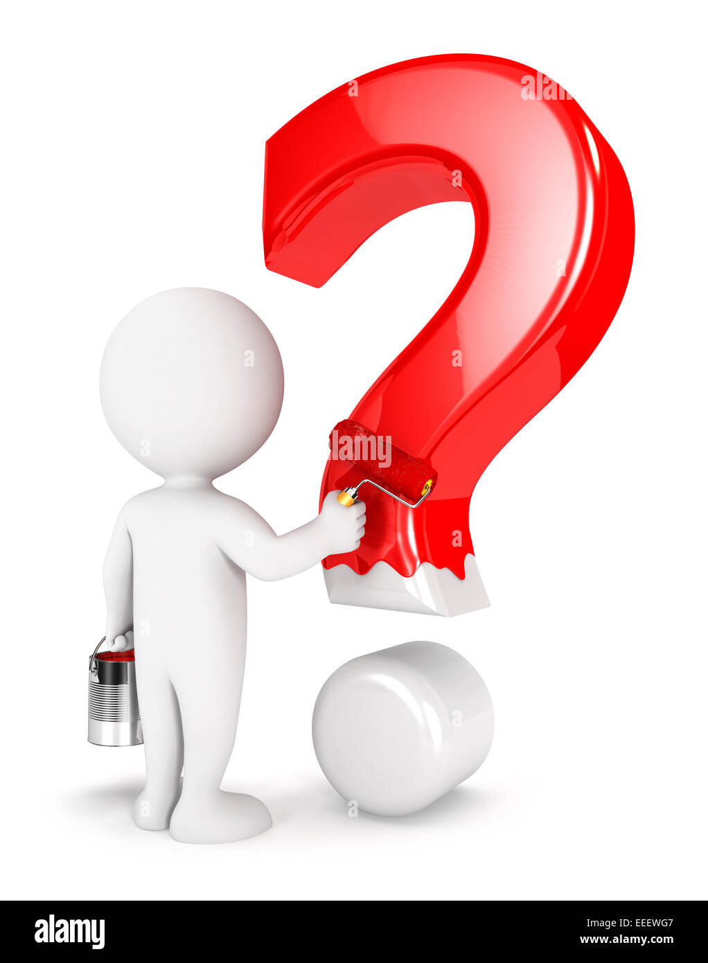 3d white people painting question mark, isolated white background, 3d image Stock Photo