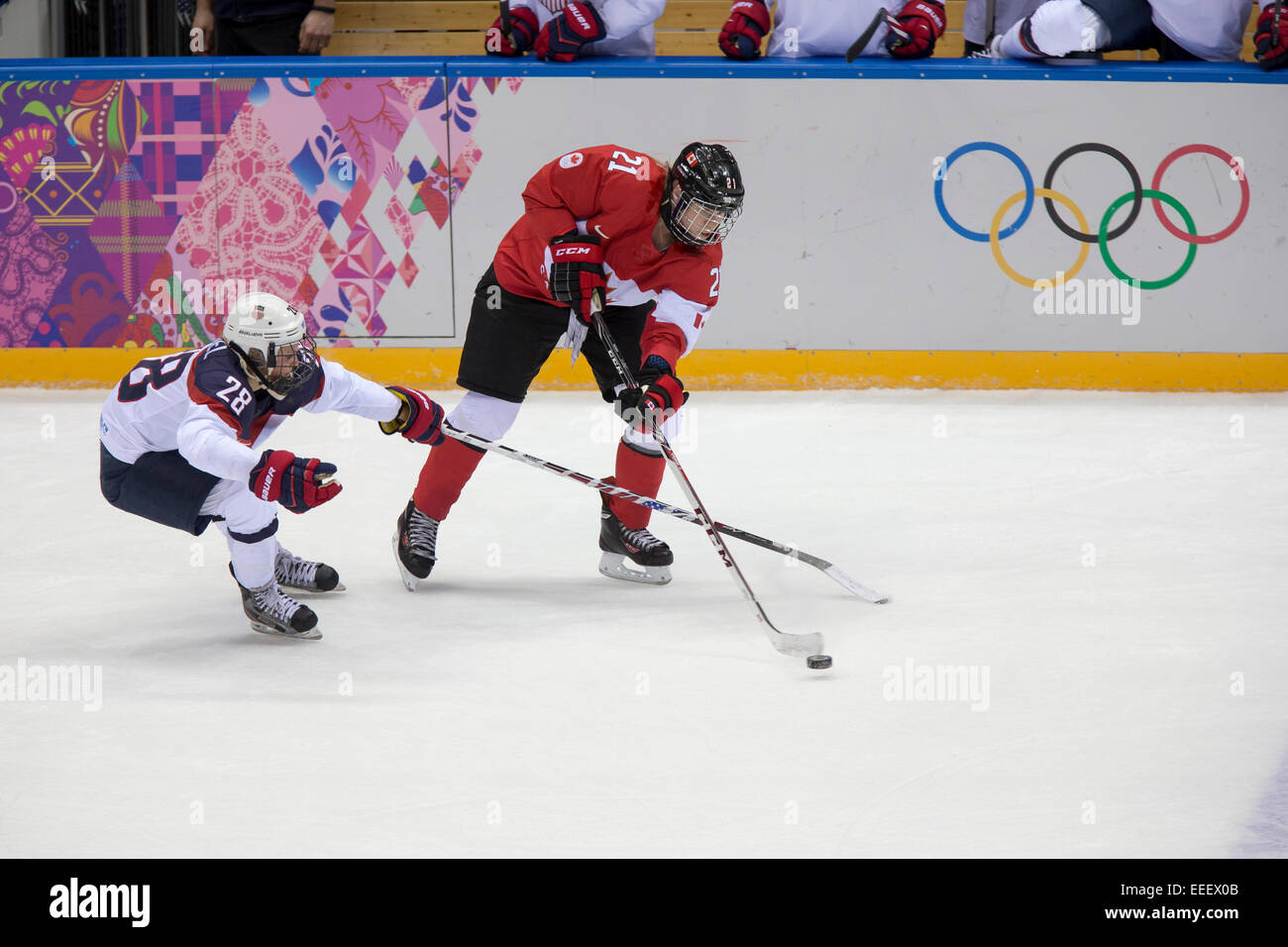 Haley Irwin (CAN)-21 and Amanda Kessel (USA)-28 during a game at the ...