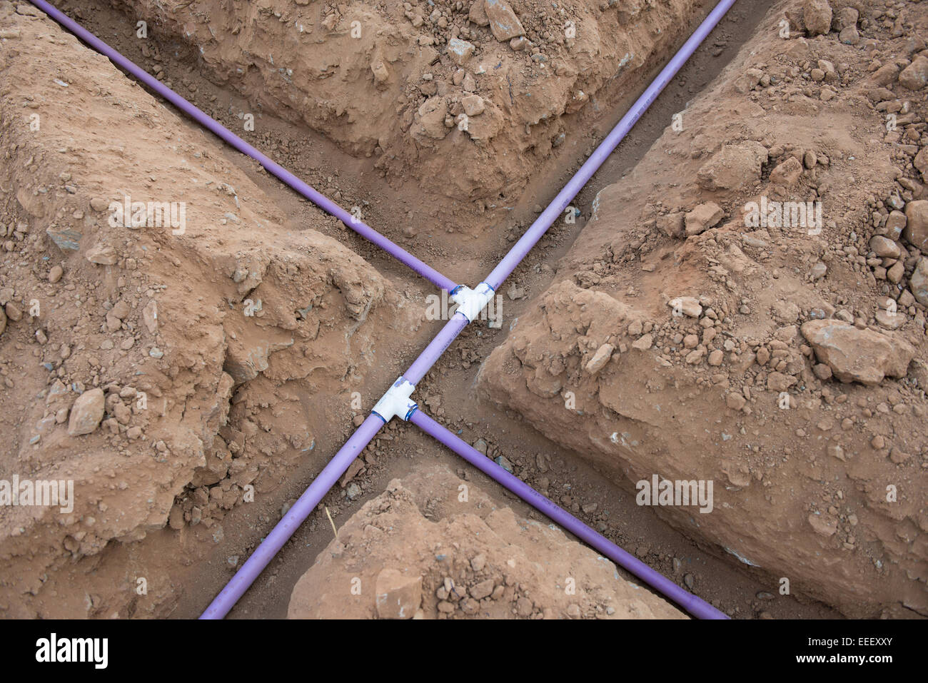 Pipe For Underground Sprinkler System In Open Dirt