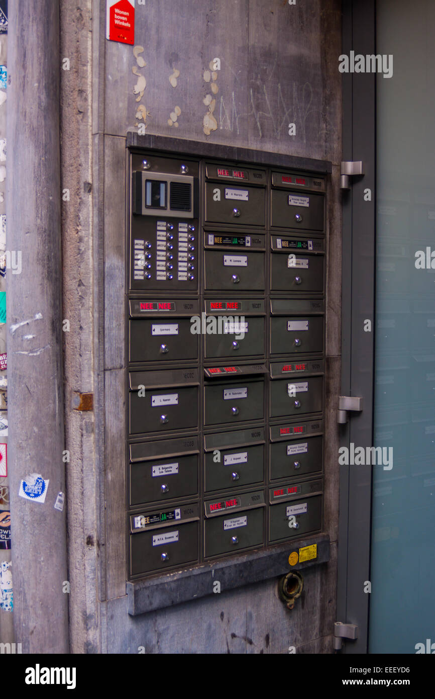 Postboxes in Maastricht, Limburg, The Netherlands - Stock Image