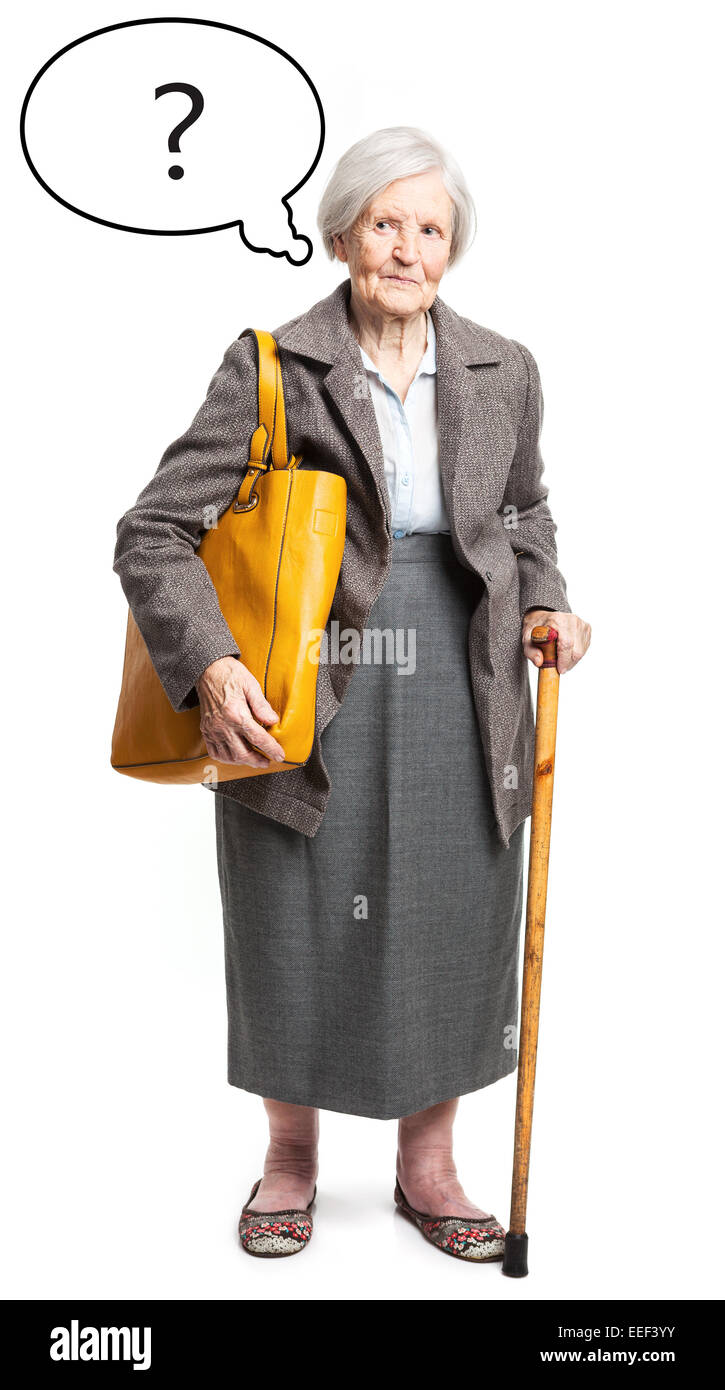 Pensive senior lady with thought bubble over white background - Stock Image