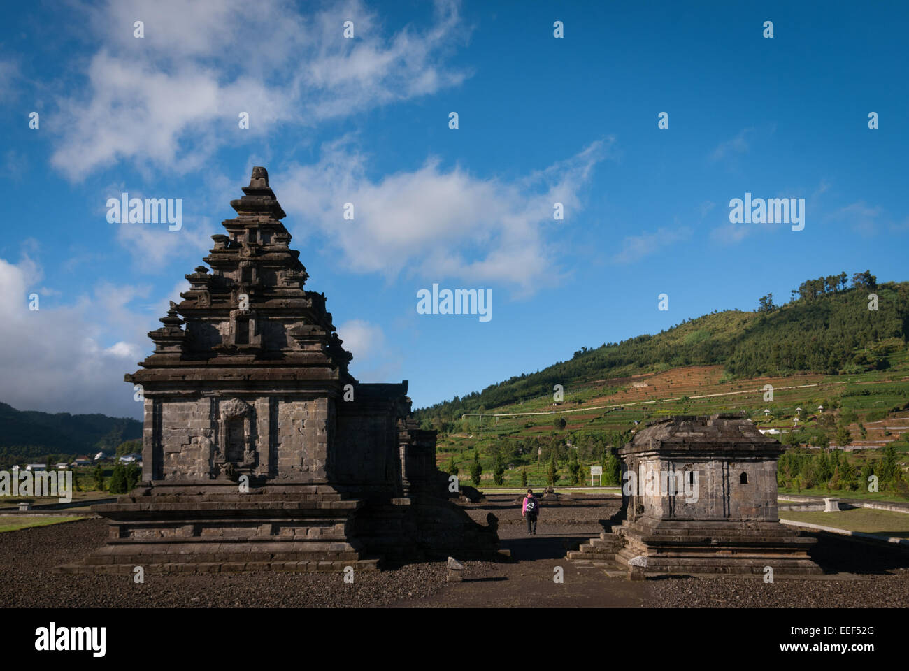 Arjuna temple complex in Dieng Plateau, Central Java. - Stock Image