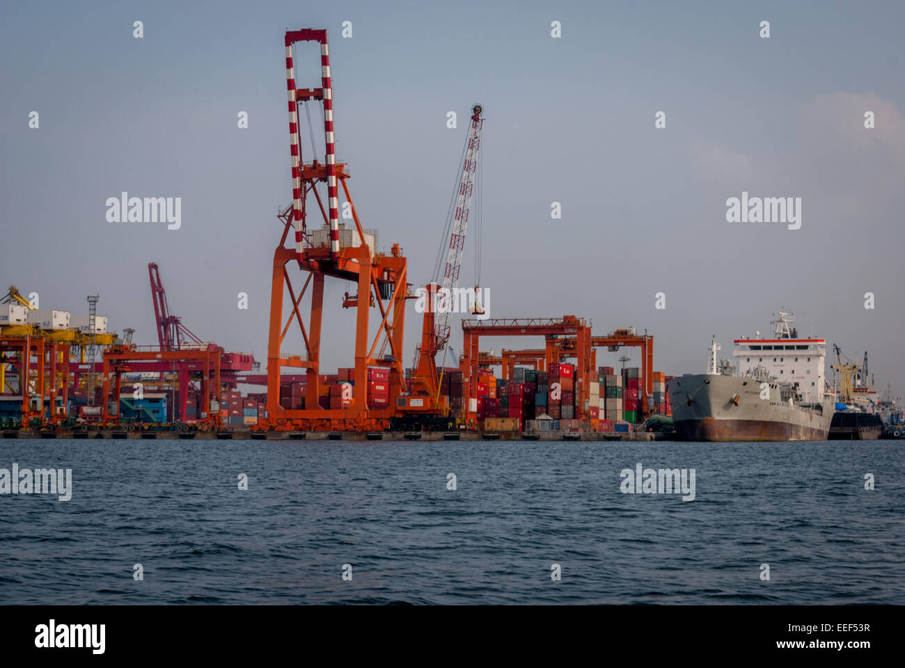 The quay of Jakarta Port. - Stock Image