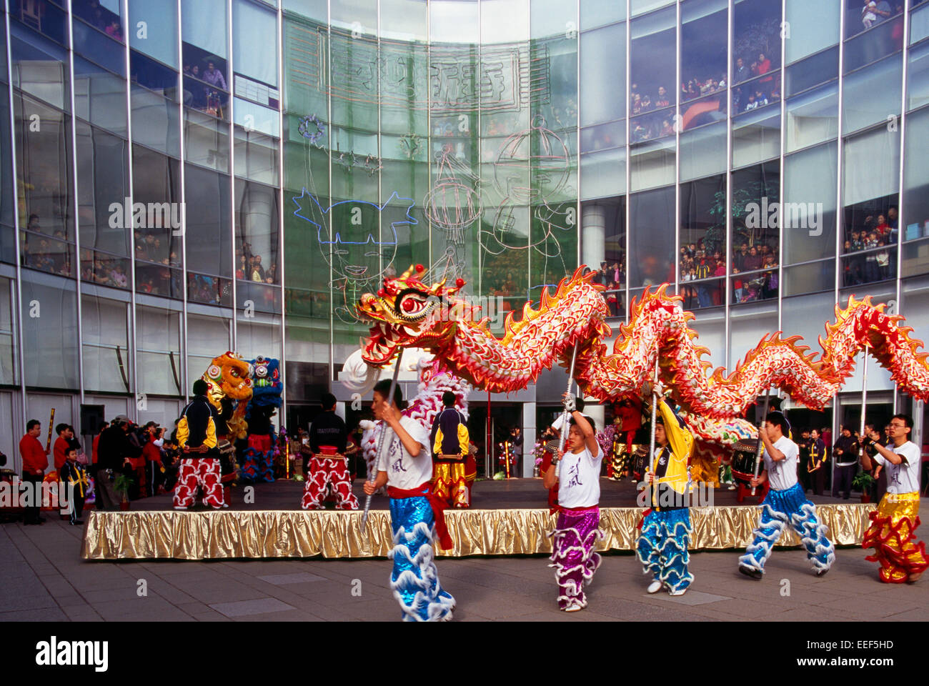 Chinese New Year Dragon Dance and Celebration, Richmond, BC, British Columbia, Canada - Stock Image