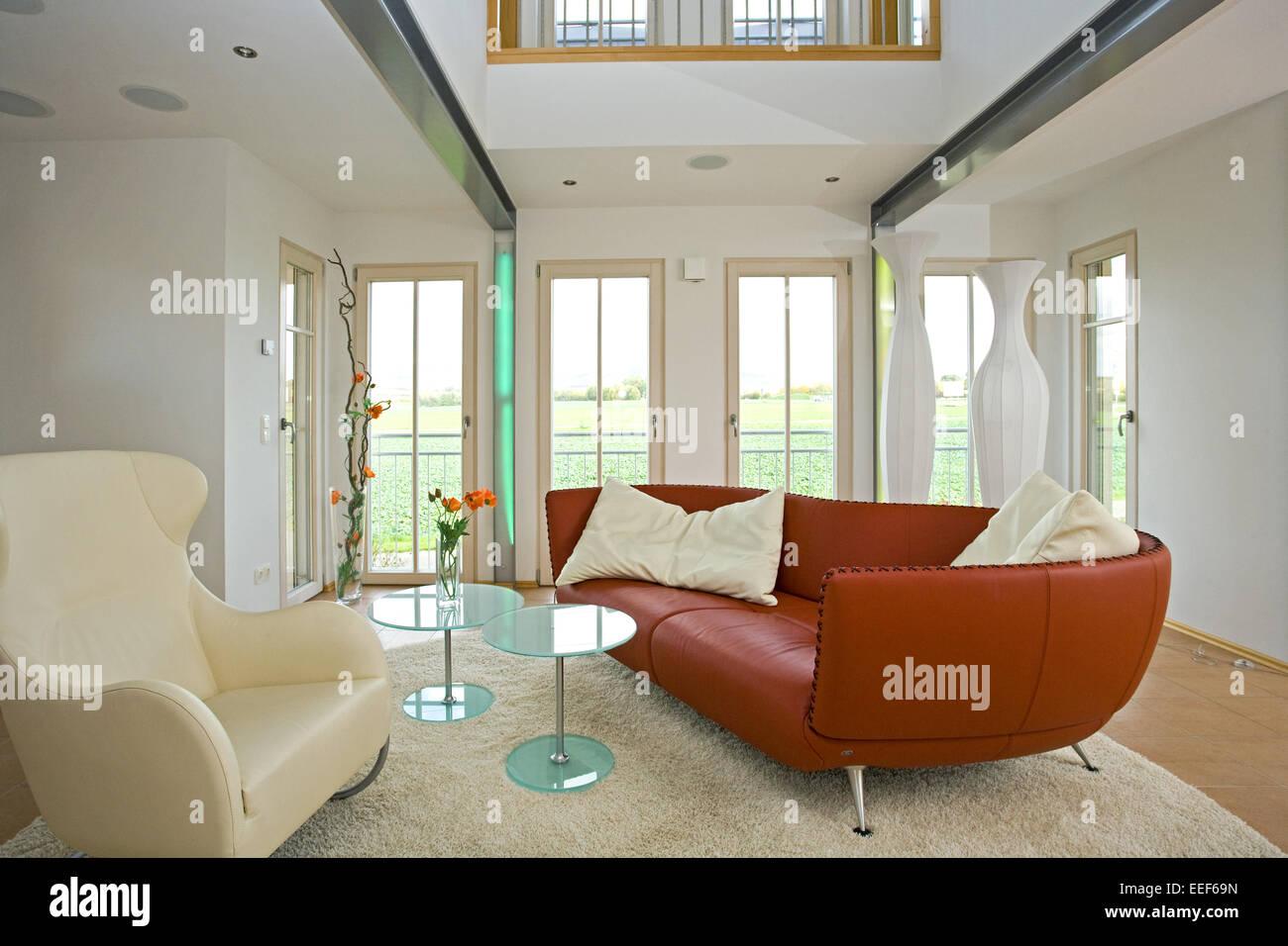 Architektur, Baustil, Leder, Couch, Sofa, Couchtisch, Dekoration, Einrichtungsgegenstaende, Innenarchitektur, Inneneinrichtung, Stock Photo