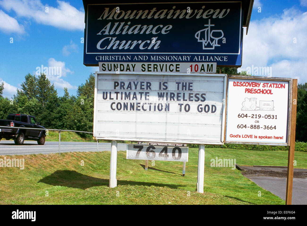Funny Humorous / Humourous Religious Church Sign - Prayer is the Ultimate Wireless Connection to God - Stock Image