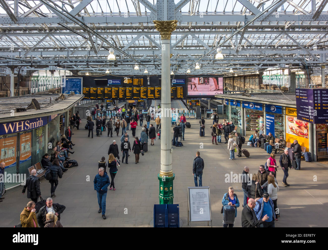 Concourse in Edinburgh Waverley Railway Station Edinburgh Scotland - Stock Image