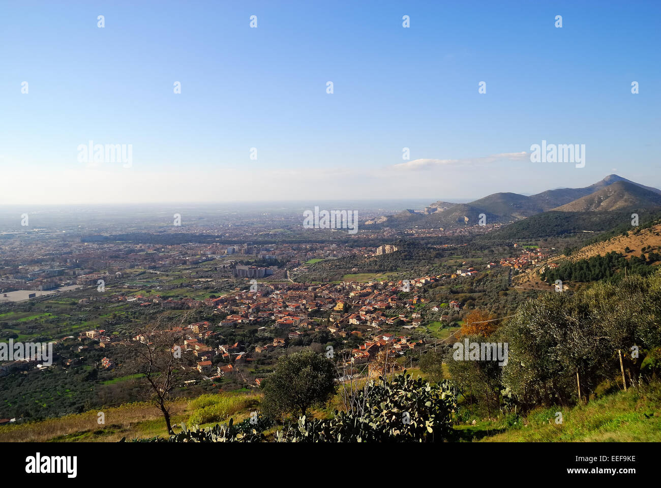 Casertavecchia, Italy, viewpoint. The view over Campania plains. - Stock Image